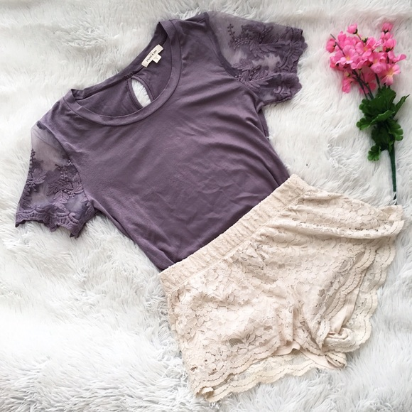 08ce5be1 T.J.Maxx Tops | Nwot Purple Lace Accent Tee | Poshmark